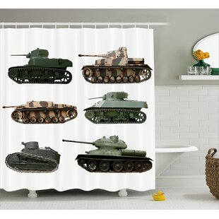 Fabric Second World War Tanks Shower Curtain + Hooks