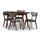 Nilsa 5 - Piece Rubber Solid Wood Dining Set by George Oliver