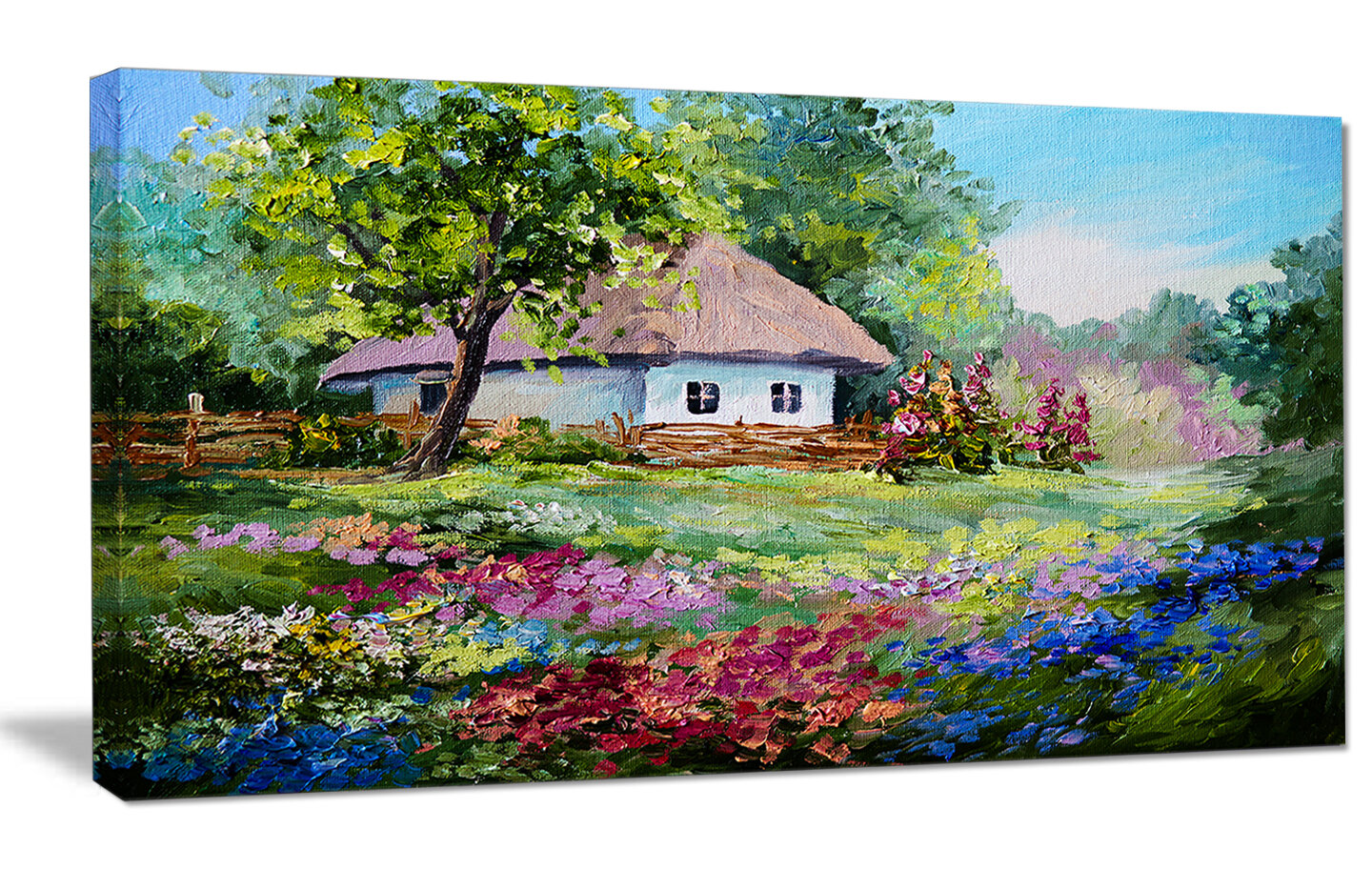Designart house in the village oil painting painting print on wrapped canvas wayfair