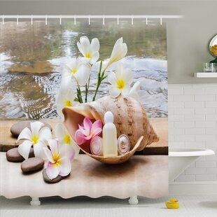 Spa Trio Bubble Bath With Cream And Liquid Soap Cute Flowers Sea Shell Shower Curtain Set