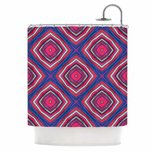 East Urban Home 'Watercolor Diamonds' Rose Diamond Shower Curtain