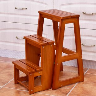 Awesome Cantrell Folding 3 Step Wood Step Stool With 200 Lb Load Capacity Machost Co Dining Chair Design Ideas Machostcouk