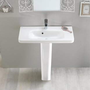 Inexpensive Noura Ceramic 32 Pedestal Bathroom Sink with Overflow By CeraStyle by Nameeks