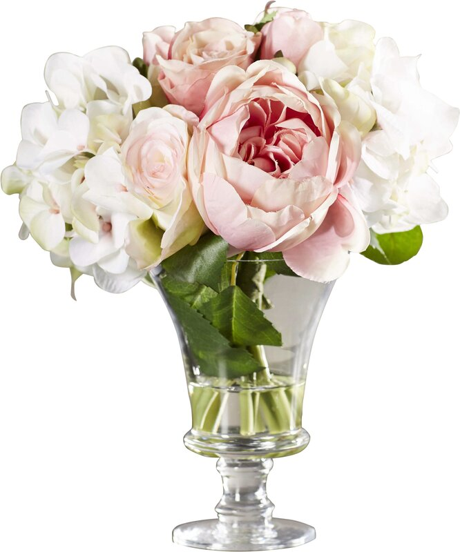 faux rose and hydrangea bouquet in pedestal glass vase - Garden Rose And Hydrangea Bouquet