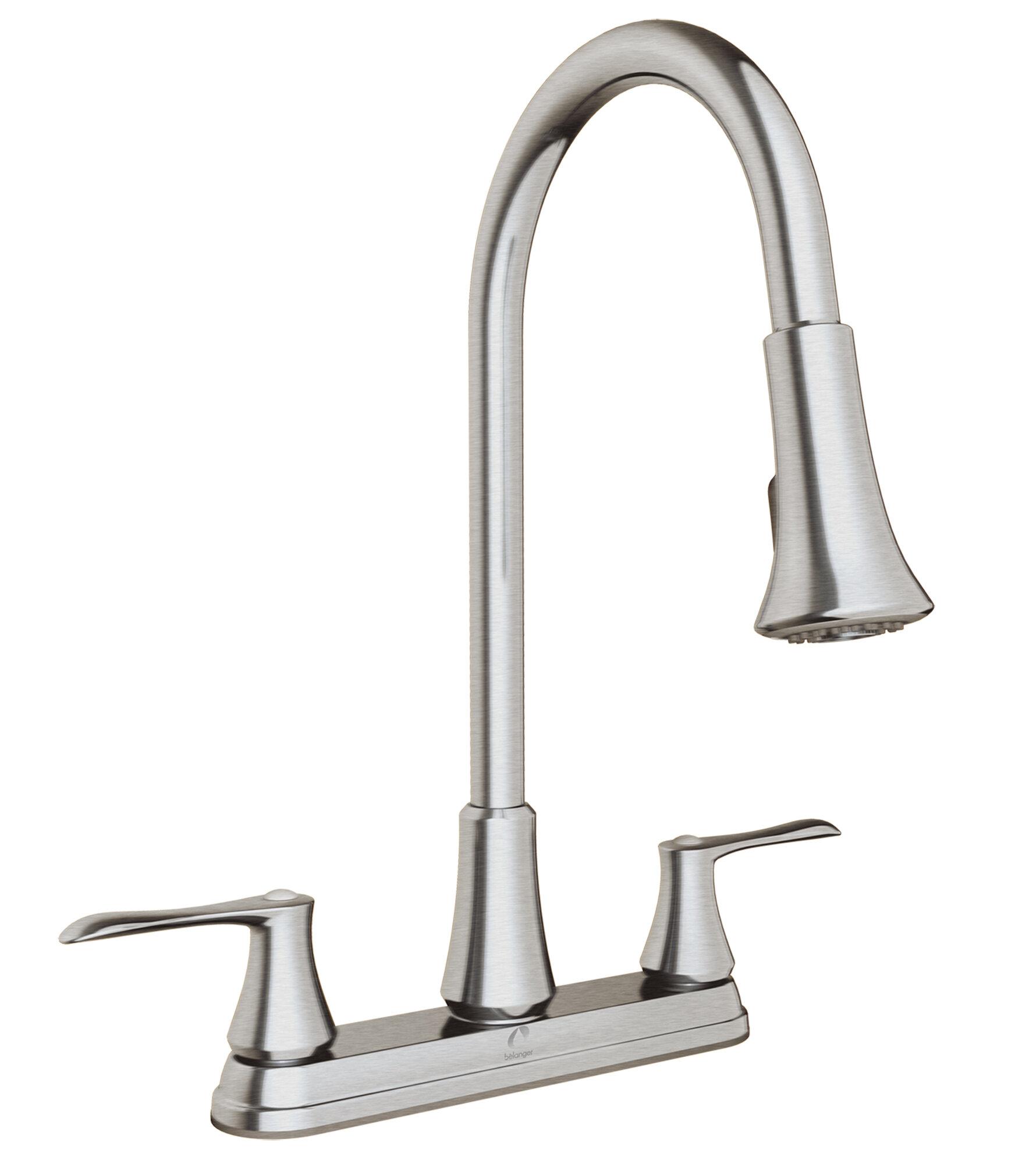 keeney manufacturing company pull down double handle kitchen faucet rh wayfair com vigo pull-down spray kitchen faucet in matte black pull down spray kitchen faucets