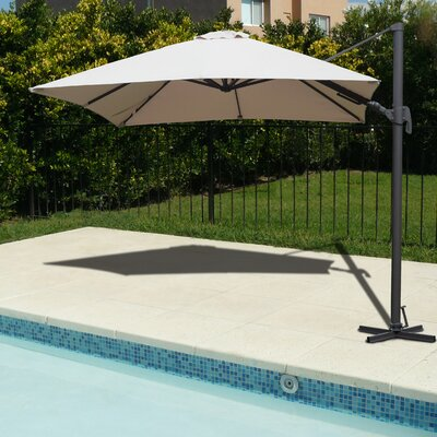 Brayden Studio Grote Liberty Aluminum 10' Square Cantilever Umbrella Fabric Color: Tan