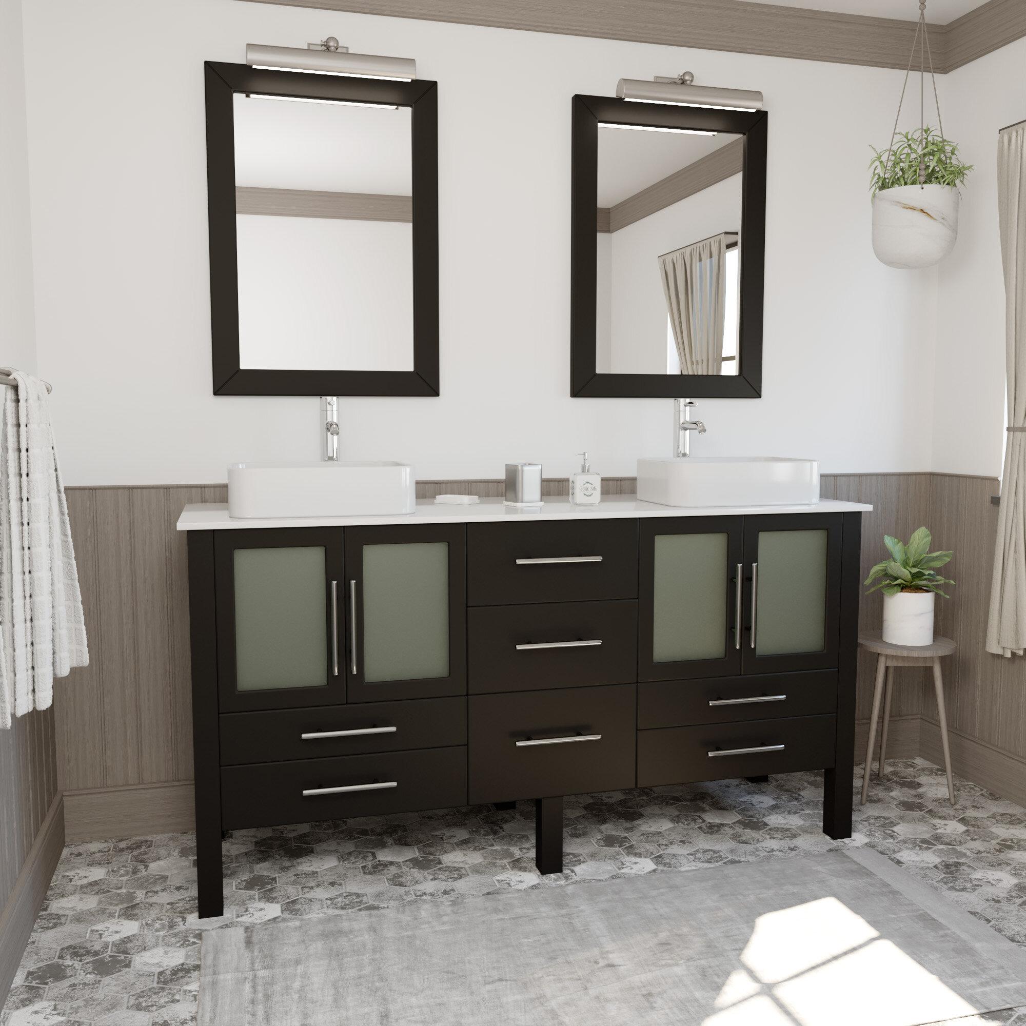 48 Inch Bath Vanity, Cambridge Plumbing Aspen 64 Double Bathroom Vanity Set With Mirror Reviews Wayfair Ca