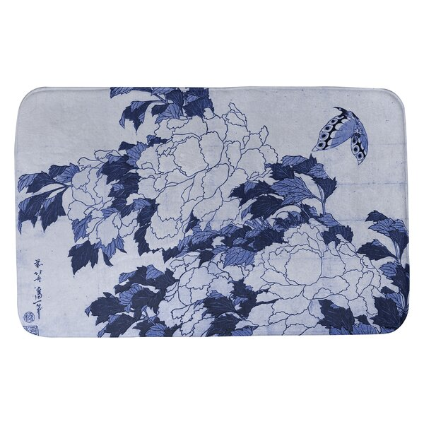 Red Barrel Studio Coshocton Peonies And Butterfly Rectangle Non Slip Floral Bath Rug Wayfair
