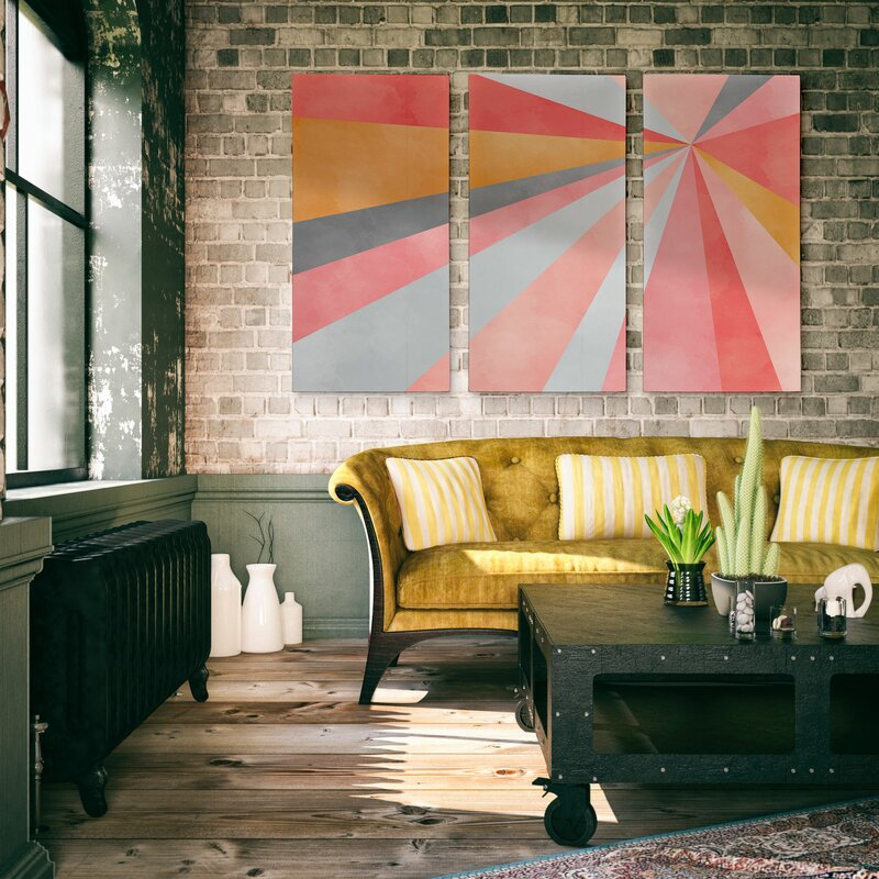A Premium 'Geometric Burst' Graphic Art Multi-Piece Image on Canvas
