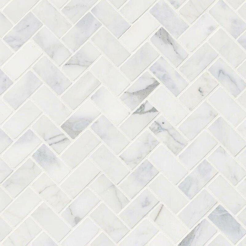 Calacatta Cressa Herringbone Honed Marble Mosaic Tile In White