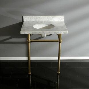 Best Price Templeton Carrara Marble Rectangular Console Sinks Bathroom Sink with Overflow ByKingston Brass