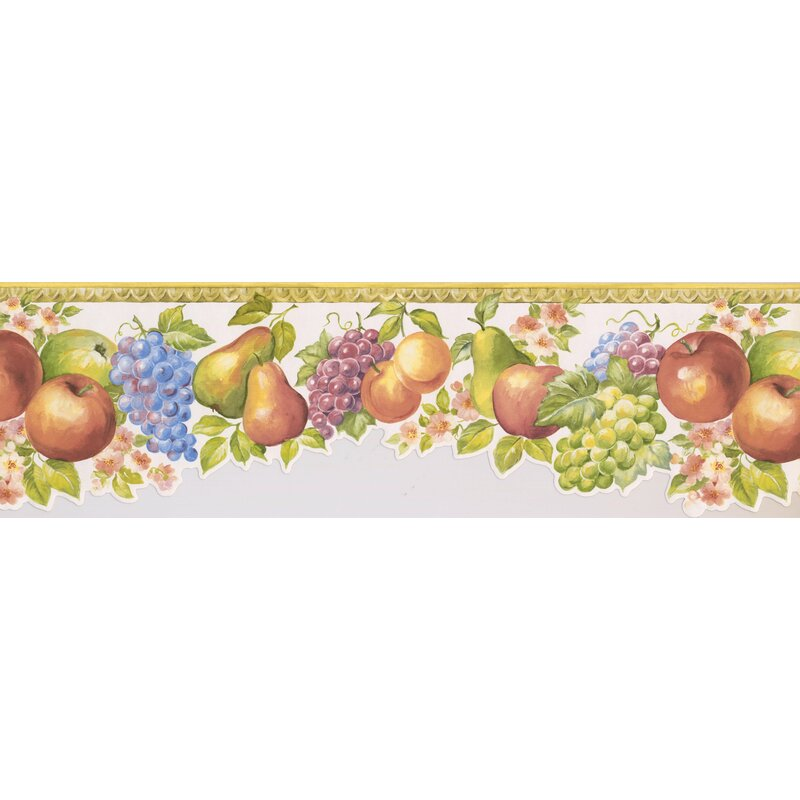 Wallpaper Border Classic Fruit and Floral Die Cut Bottom Edge Swag Apples Pears