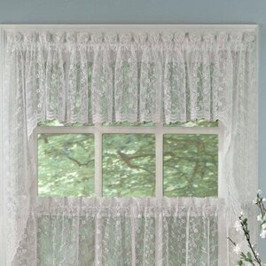 Priscilla Lace Swag Curtain Valance (Set of 2)