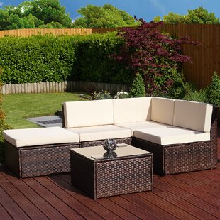 Faro 3 Seater Rattan Effect Corner Sofa Set With Cushions