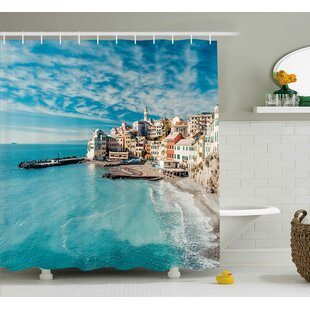 Kristin Panorama of Old Italian Fish Village Beach Old Province Coastal Charm Image Single Shower Curtain