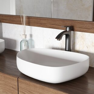 VIGO Matte Stone Specialty Vessel Bathroom Sink with Faucet VIGO