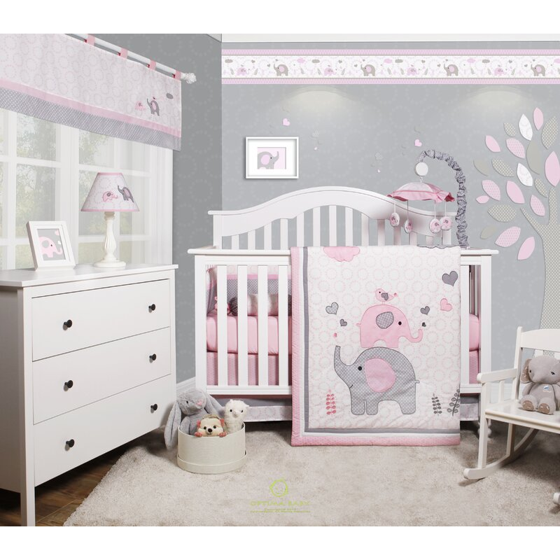 harriet bee cheatwood elephant baby girl nursery 6 piece crib bedding set reviews wayfair. Black Bedroom Furniture Sets. Home Design Ideas