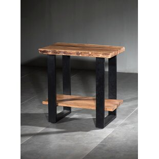 Keya Live Edge Wooden 2 Shelf End Table by Union Rustic
