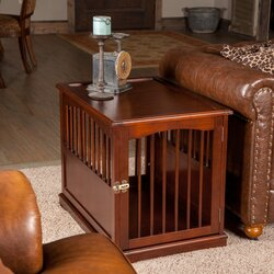 primetime petz pet crate end table in walnut & reviews | wayfair