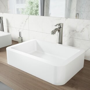 VIGO VIGO Matte Stone Rectangular Vessel Bathroom Sink
