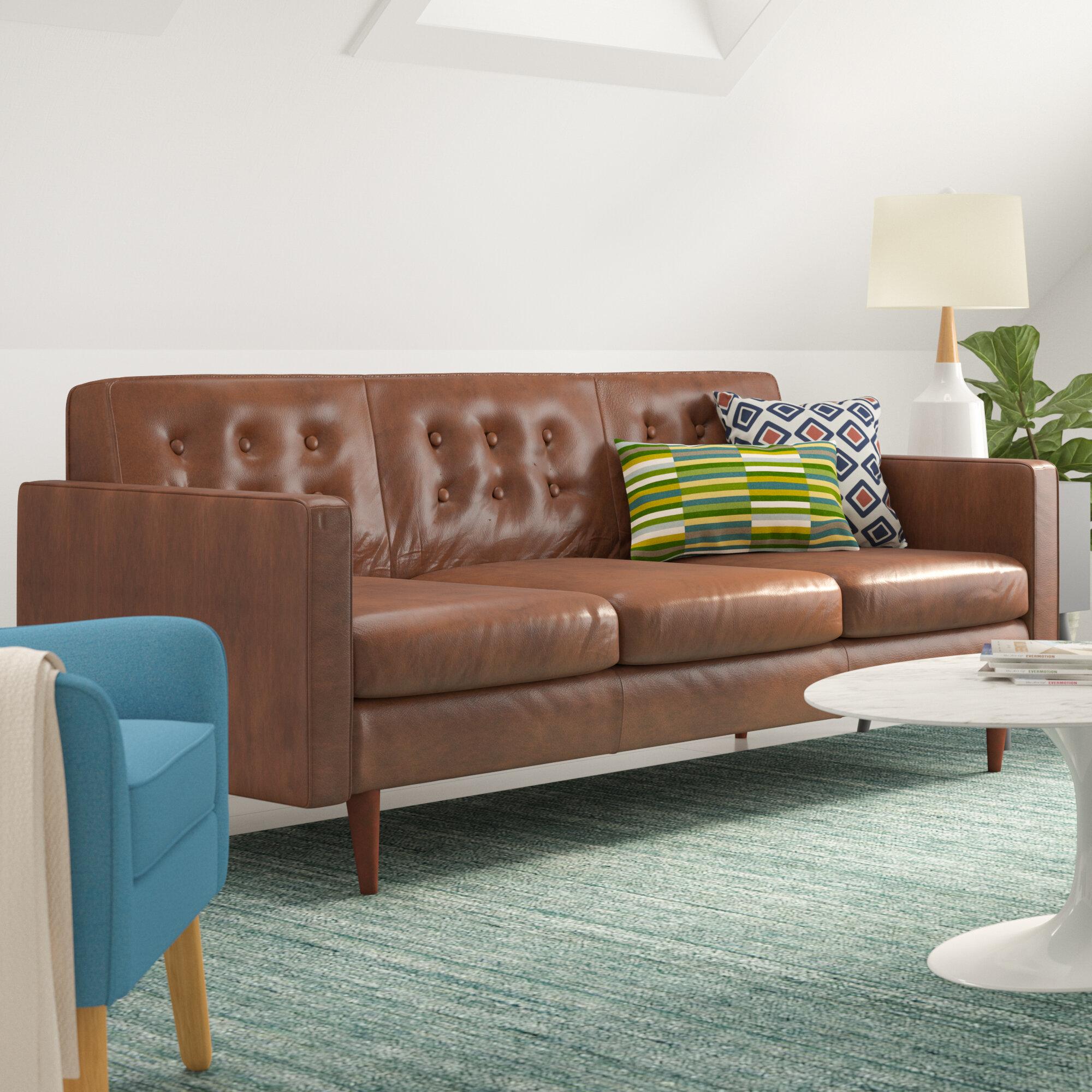 Corrigan Studio Trevor Mid Century Modern Leather Sofa Reviews  ~ Leather Mid Century Modern Sofa