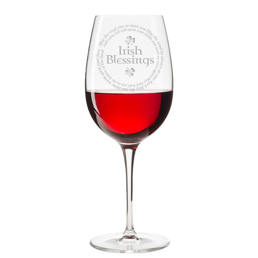 East Urban Home Irish Blessings 18 Oz Red Wine Glass Wayfair