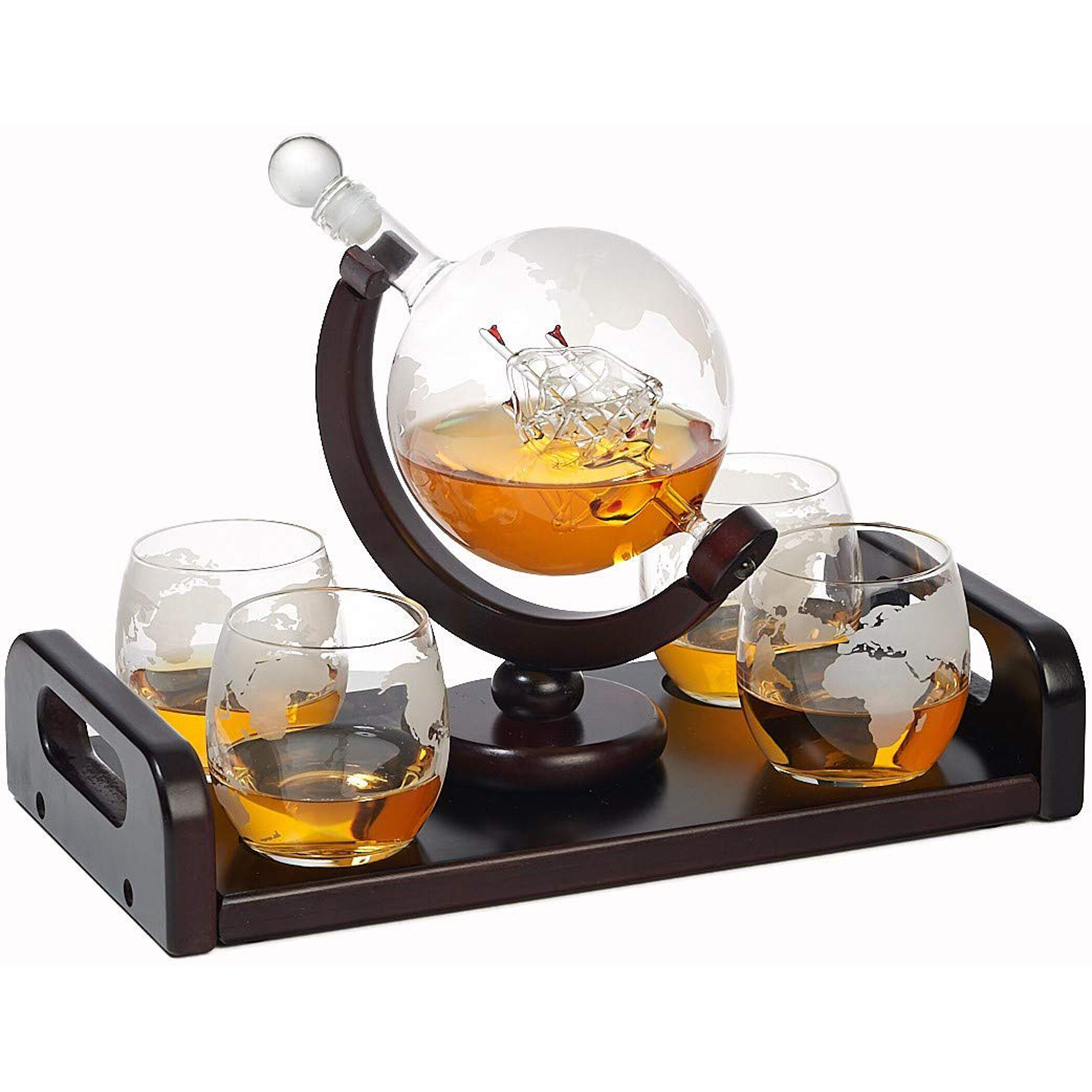 Symple Stuff Monahan Etched Globe 5 Piece Whiskey Decanter Set Reviews Wayfair