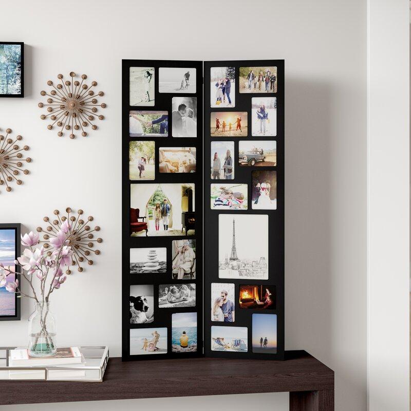 Laude Run Pillar 26 Opening Decorative Wood Folding Floor Standing Photo Collage Picture Frame Reviews Wayfair
