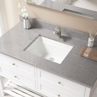 Great choice Vitreous China Rectangular Undermount Bathroom Sink with Overflow And Drain Assembly ByMR Direct