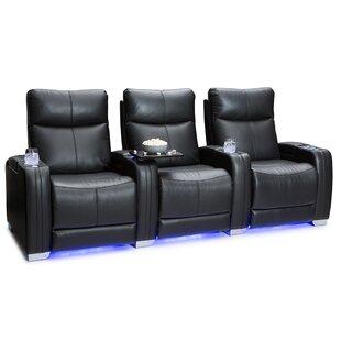 Latitude Run Leather Home Theater Row Seating (Row of 3)