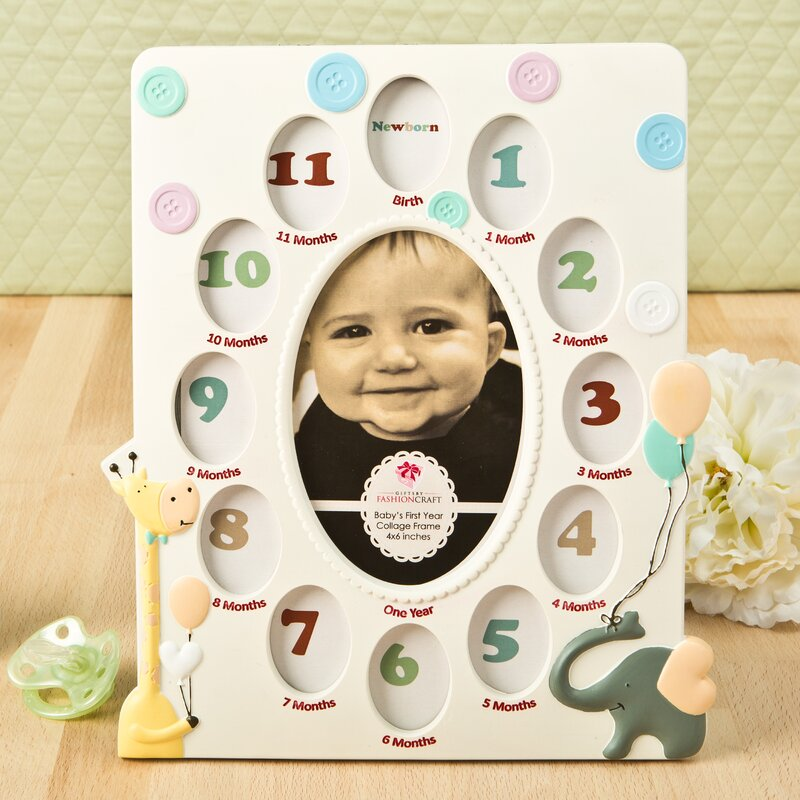 fashioncraft giraffe and elephant baby collage picture frame