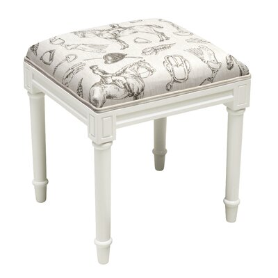 123 Creations Equestrian Vanity Stool Frame ColorTop Color WhiteGray
