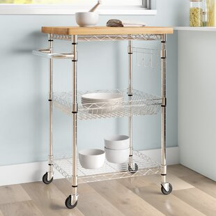 Enos Kitchen Cart with Solid Wood Top