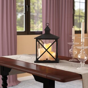 Plastic Lantern with 3 LED Candles By Charlton Home Outdoor Lighting