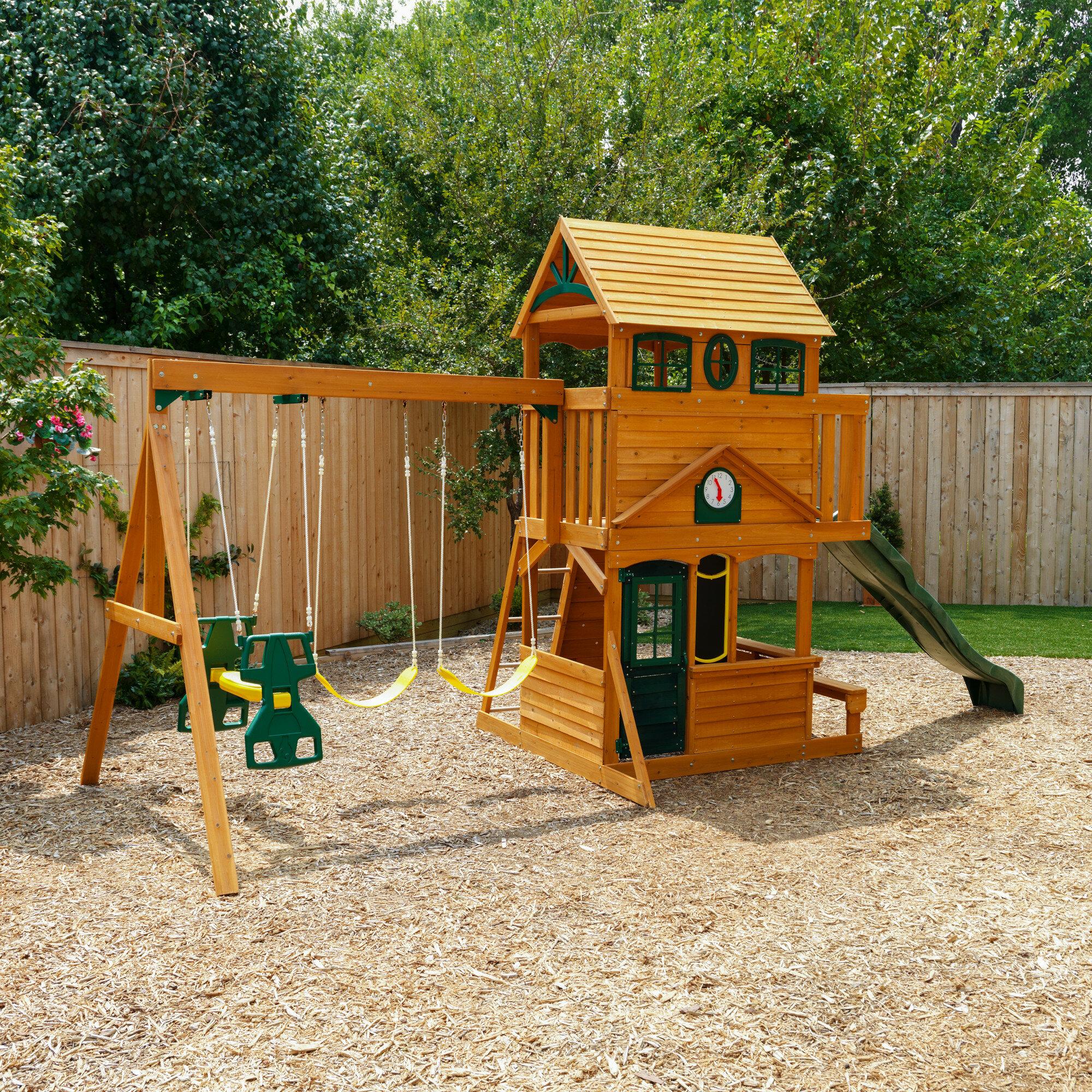 Kidkraft Ashberry Wooden Swing Set Reviews Wayfair