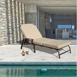 Swenson Outdoor Reclining Chaise Lounge with Cushion by Ebern Designs