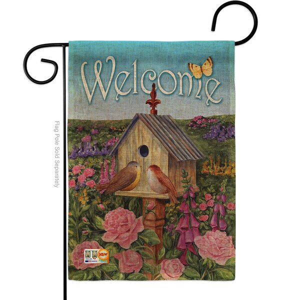 """Garden Shed Flag*Cute Red Lady Bugs on Flowers*Porch Banner*12 x 18/"""" two sided"""