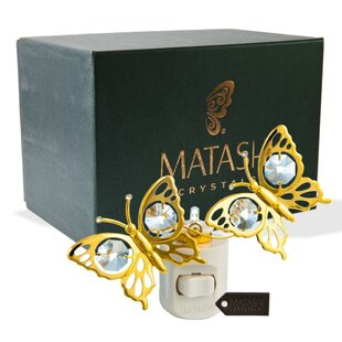 Matashi Crystal 24K Gold Plated Crystal Studded Double Butterfly Multi-Colored Night Light