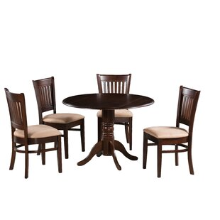 Zebulon 5 Piece Drop Leaf Solid Wood Dining Set