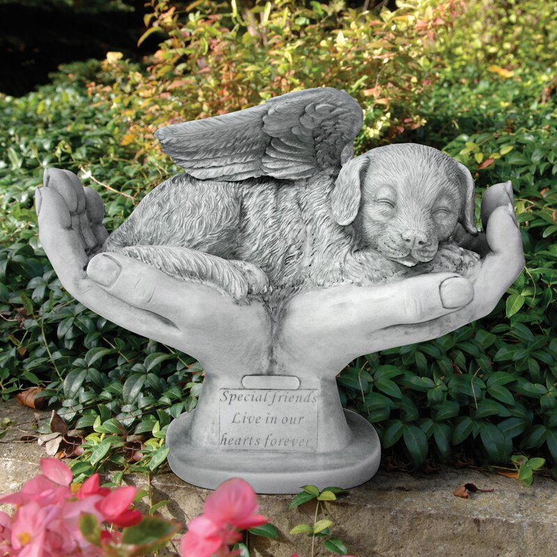 In Godu0027s Hands Dog Memorial Statue