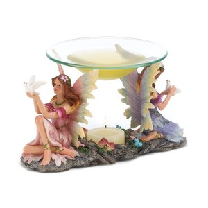 Peaceful Fairies Resin and Glass Tealight Oil Warmer