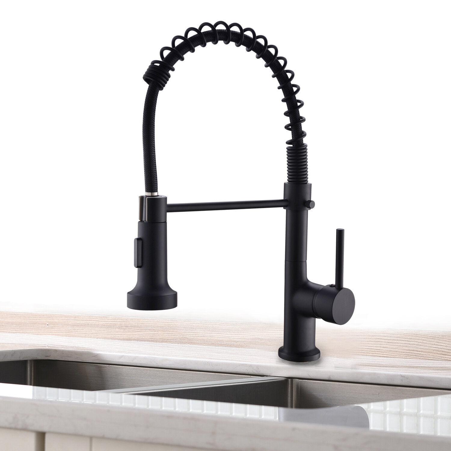 Kangju Solid Brass Pull Down Touch Single Handle Kitchen Faucet Wayfair
