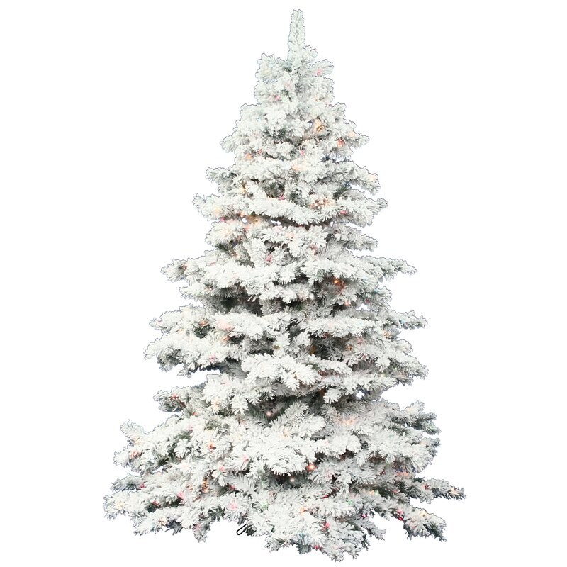 Flocked Alaskan 9 White Artificial Christmas Tree With 1200 Led Multi Colored Lights With Stand