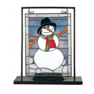 Meyda Tiffany Tiffany Snowman Lighted Mini Tabletop Window Table Lamp