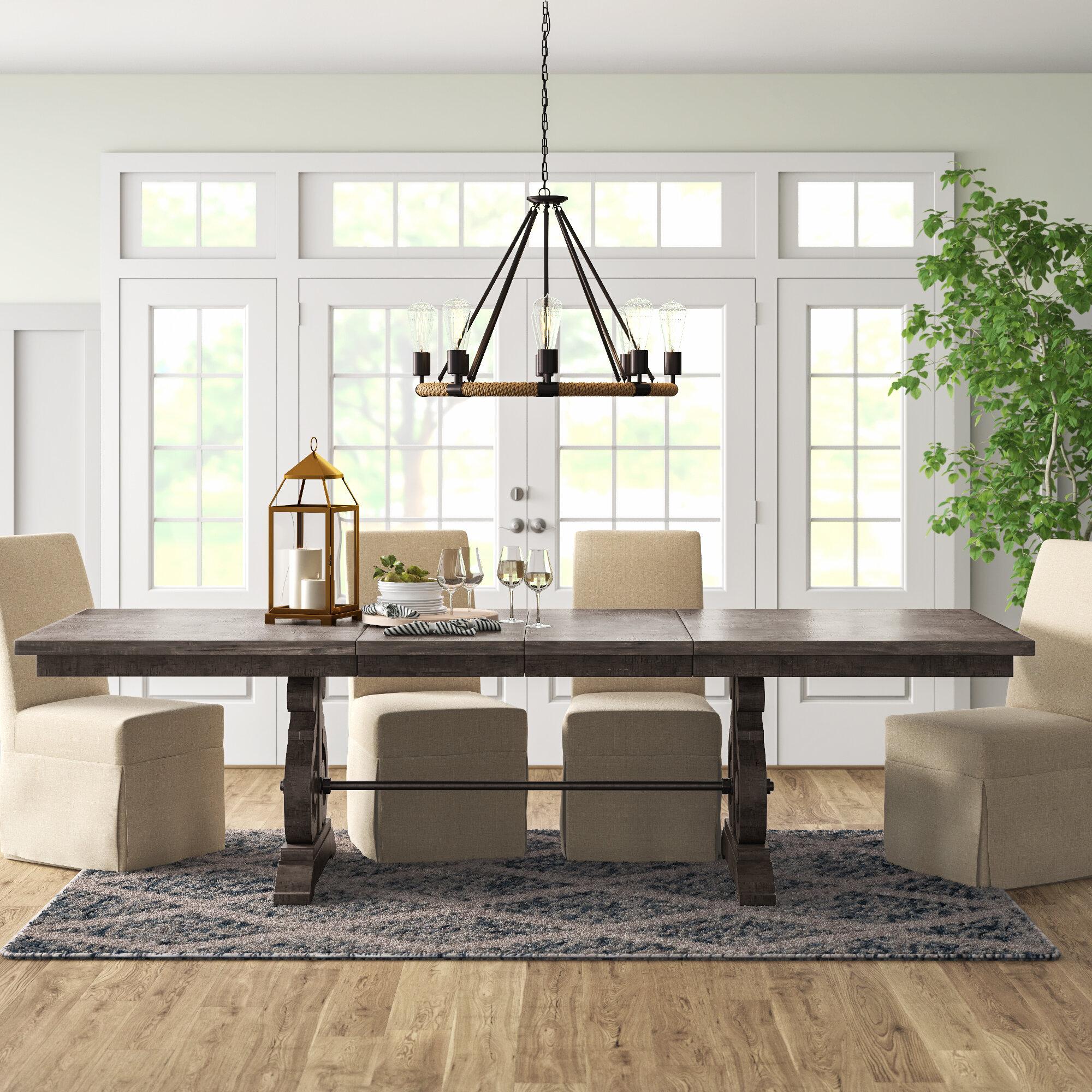 Birch Lane Machuca Extendable Rubberwood Solid Wood Trestle Dining Table Reviews Wayfair