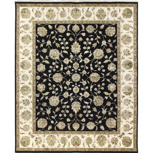 Great choice One-of-a-Kind Broncho Genuine Oriental Hand-Knotted 8'3 x 10'1 Wool Black/Beige Area Rug By Isabelline