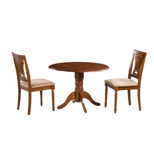 Hillcrest 3 Piece Drop Leaf Solid Wood Dining Set by Alcott Hill