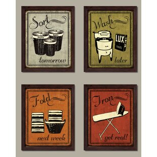 Laundry Set Vintage Sort Wash Fold And Iron Signs Graphic Art Print Of 4