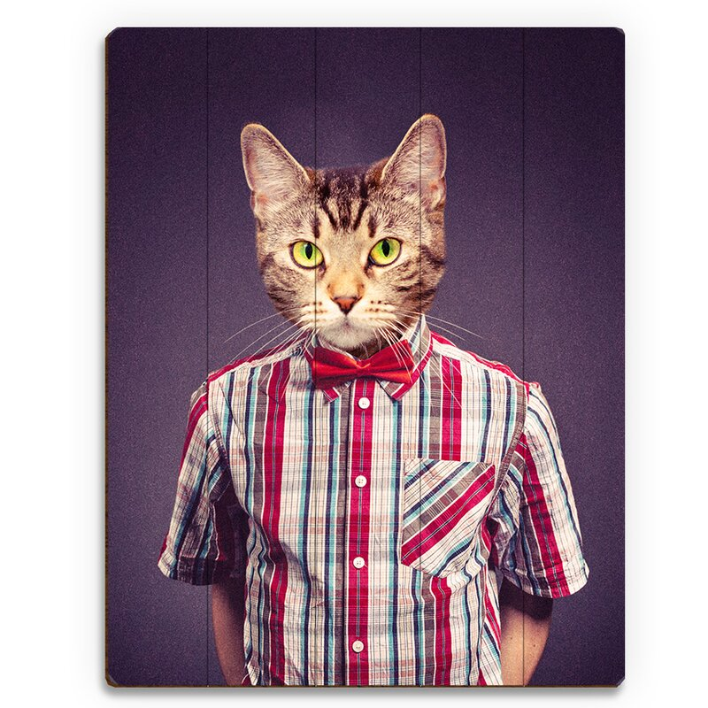 Click Wall Art Realistic Hipster Cat Graphic Art Print On Wood Wayfair
