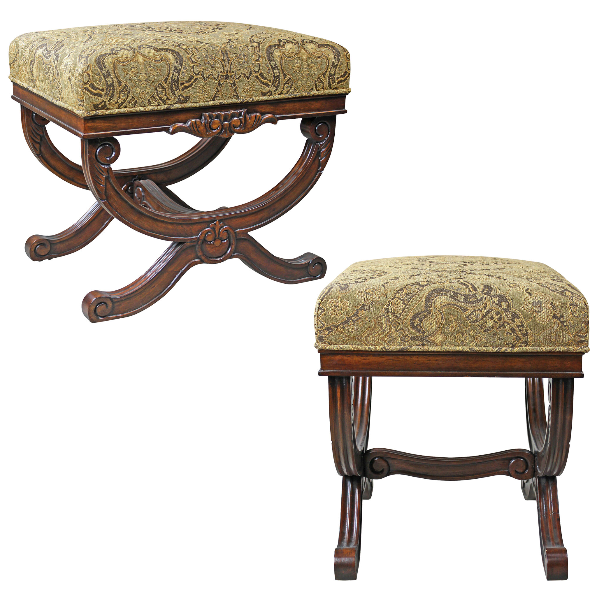 Enjoyable Classical Curule Ottoman Vanity Stool Andrewgaddart Wooden Chair Designs For Living Room Andrewgaddartcom